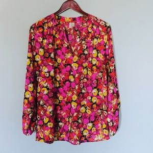 Madison Bright Floral Button Blouse